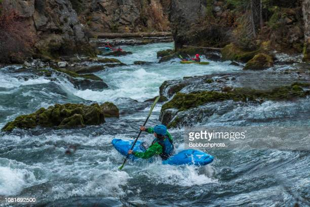 kayking white water rapids of benham falls on the deschutes river near bend, oregon - deschutes national forest stock pictures, royalty-free photos & images
