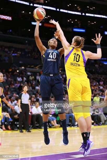 Kayla Alexander of the Indiana Fever shoot the ball over Maria Vadeeva of the Los Angeles Sparks during a WNBA basketball game at Staples Center on...