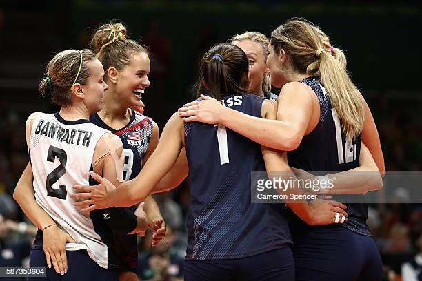 Kayla Banwarth Kelsey Robinson of United States and team mates celebrate winning the Women's Preliminary Pool B match between the Netherlands and the...