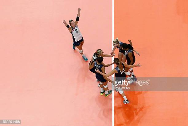 Kayla Banwarth of United States and Team USA celebrate a point during the Women's Bronze Medal Match between Netherlands and the United States on Day...