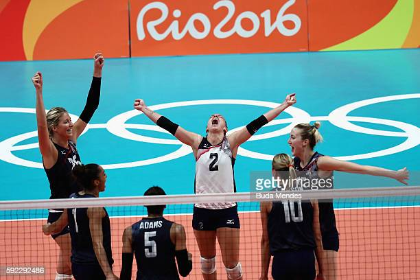 Kayla Banwarth of United States and Team USA celebrate winning the third set during the Women's Bronze Medal Match between Netherlands and the United...