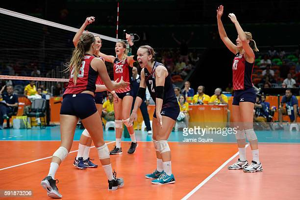 Kayla Banwarth of United States celebrates while taking on Serbia while taking on Serbia in the Women's Volleyball Semifinal match at the...