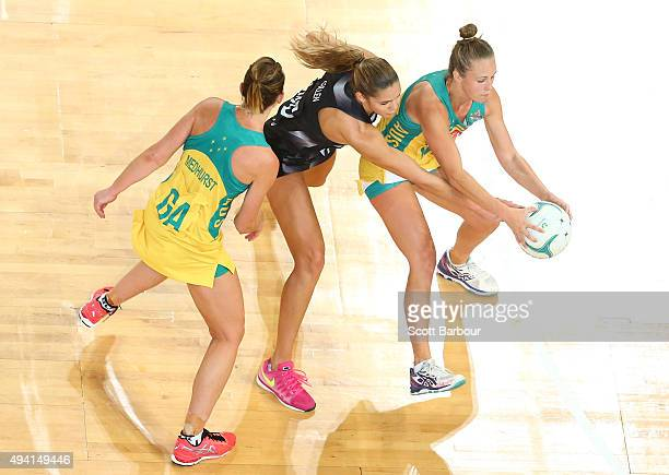 Kayla Cullen of the Silver Ferns and Paige Hadley of the Diamonds compete for the ball during the International Test match between the Australia...