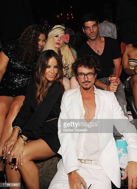 Kayla Humphries Robin Antin and Joyce Bionelli celebrate Kim Kardashian's bachelorette party at TAO Nightclub at the Venetian on July 23 2011 in Las...