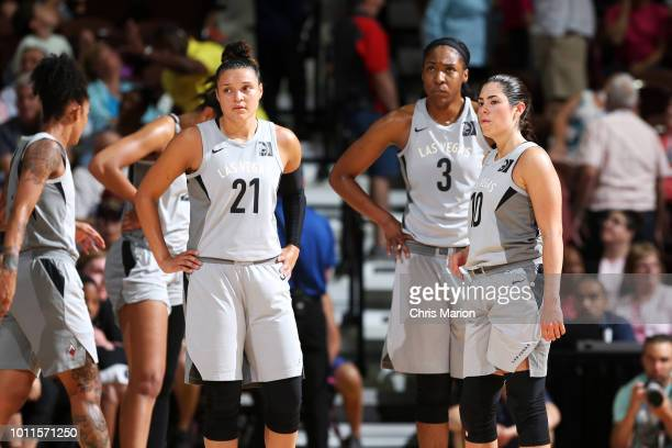 Kayla McBride Kelsey Bone and Kelsey Plum of the Las Vegas Aces look on during the game against the Connecticut Sun on August 5 2018 at the Mohegan...