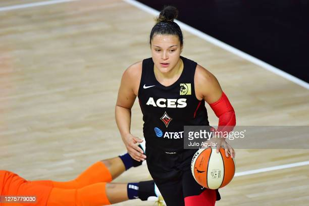 Kayla McBride of the Las Vegas Aces dribbles during the second half against the Connecticut Sun in Game 2 of their Third Round playoffs at Feld...
