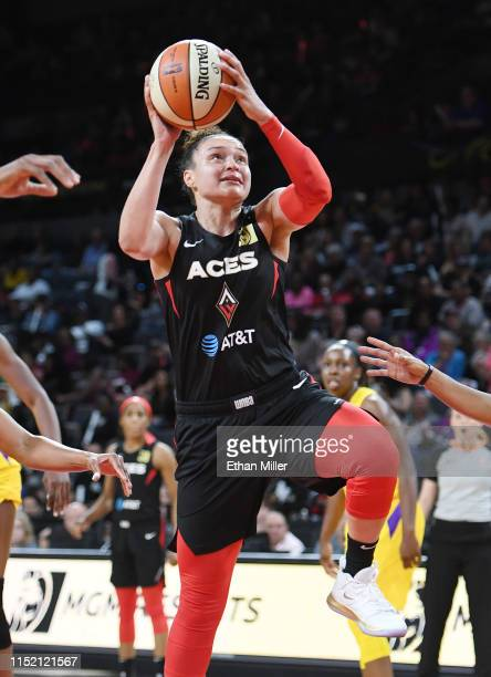 Kayla McBride of the Las Vegas Aces drives to the basket against the Los Angeles Sparks during their game at the Mandalay Bay Events Center on May 26...