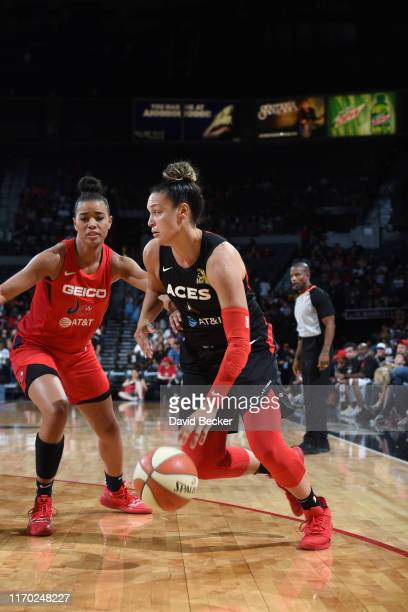 Kayla McBride of the Las Vegas Aces drives to the basket against the Washington Mystics during Game Three of the 2019 WNBA Playoff Semifinals on...