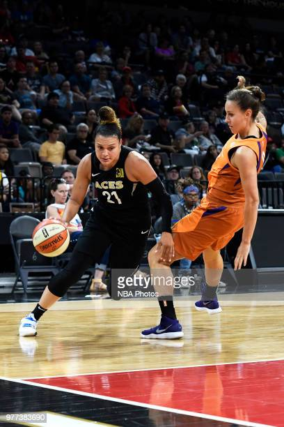 Kayla McBride of the Las Vegas Aces drives to the basket against the Phoenix Mercury on June 17 2018 at the Mandalay Bay Events Center in Las Vegas...