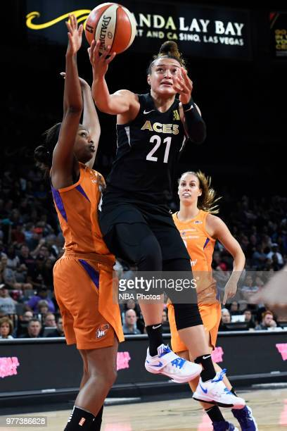 Kayla McBride of the Las Vegas Aces goes to the basket against the Phoenix Mercury on June 17 2018 at the Mandalay Bay Events Center in Las Vegas...