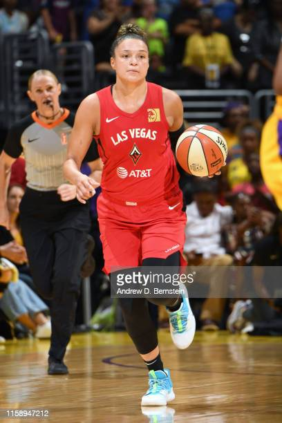 Kayla McBride of the Las Vegas Aces handles the ball against the Los Angeles Sparks on August 1 2019 at STAPLES Center in Los Angeles California NOTE...