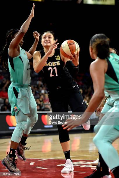 Kayla McBride of the Las Vegas Aces handles the ball against the New York Liberty on August 15 2018 at the Allstate Arena in Chicago Illinois NOTE TO...