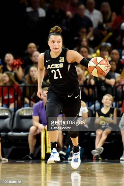 Kayla McBride of the Las Vegas Aces handles the ball against the Indiana Fever on July 22 2018 at the Mandalay Bay Events Center in Las Vegas Nevada...