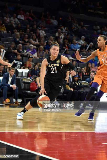 Kayla McBride of the Las Vegas Aces handles the ball against the Phoenix Mercury on August 1 2018 at the Mandalay Bay Events Center in Las Vegas...