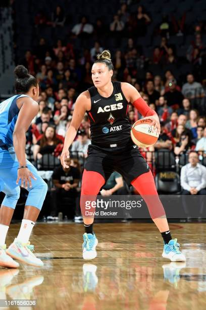Kayla McBride of the Las Vegas Aces handles the ball against the Atlanta Dream on August 13 2019 at the Mandalay Bay Events Center in Las Vegas...