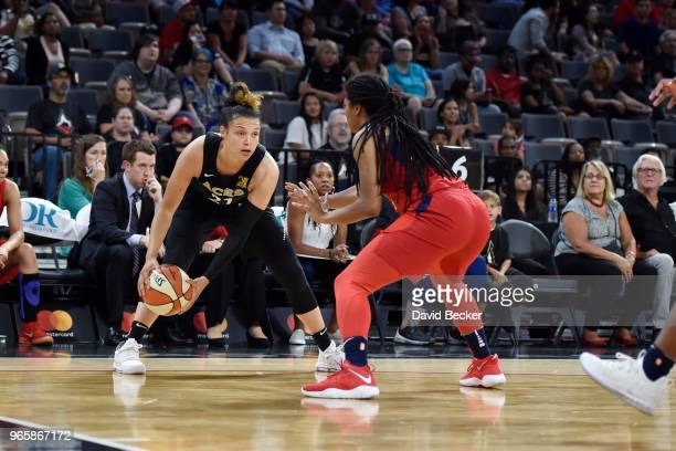 Kayla McBride of the Las Vegas Aces handles the ball against the Washington Mystics on June 1 2018 at the Mandalay Bay Events Center in Las Vegas...