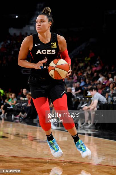 Kayla McBride of the Las Vegas Aces handles the ball against the Chicago Sky on August 9 2019 at the Mandalay Bay Events Center in Las Vegas Nevada...