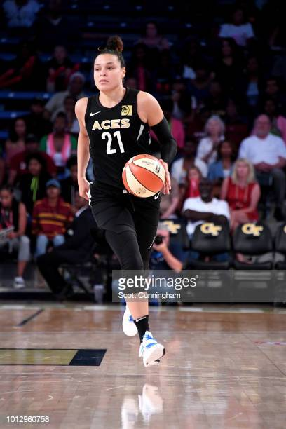 Kayla McBride of the Las Vegas Aces handles the ball during the game against the Atlanta Dream on August 07 2018 at McCamish Pavilion in Atlanta...