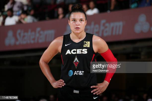 Kayla McBride of the Las Vegas Aces looks on during the game against the New York Liberty on June 9 2019 at the Westchester County Center in White...