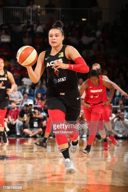 Kayla McBride of the Las Vegas Aces moves up the court during the game against the Washington Mystics on July 13 2019 at the St Elizabeths East...