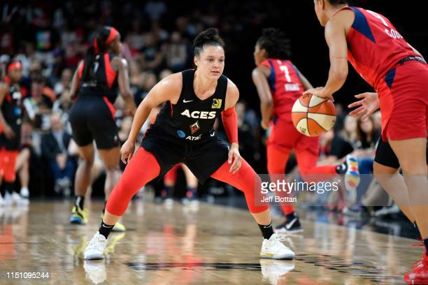 Kayla McBride of the Las Vegas Aces plays defense during the game against the Washington Mystics on June 20 2019 at the Mandalay Bay Events Center in...