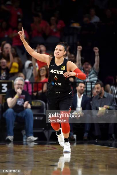 Kayla McBride of the Las Vegas Aces reacts to a play against the New York Liberty on June 14 2019 at the Mandalay Bay Events Center in Las Vegas...