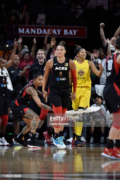 Kayla McBride of the Las Vegas Aces reacts to play against the Los Angeles Sparks on August 31 2019 at the Mandalay Bay Events Center in Las Vegas...