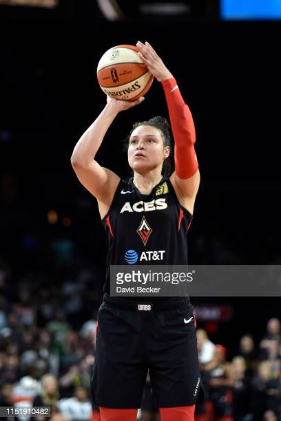 Kayla McBride of the Las Vegas Aces shoots a free throw against the Seattle Storm on June 25 2019 at the Mandalay Bay Events Center in Las Vegas...