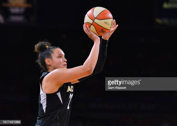Kayla McBride of the Las Vegas Aces shoots against the New York Liberty during their game at the Mandalay Bay Events Center on August 15 2018 in Las...