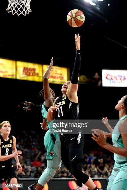 Kayla McBride of the Las Vegas Aces shoots the ball against the New York Liberty on August 15 2018 at the Allstate Arena in Chicago Illinois NOTE TO...