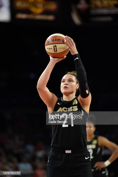 Kayla McBride of the Las Vegas Aces shoots the ball against the Phoenix Mercury on August 1 2018 at the Mandalay Bay Events Center in Las Vegas...