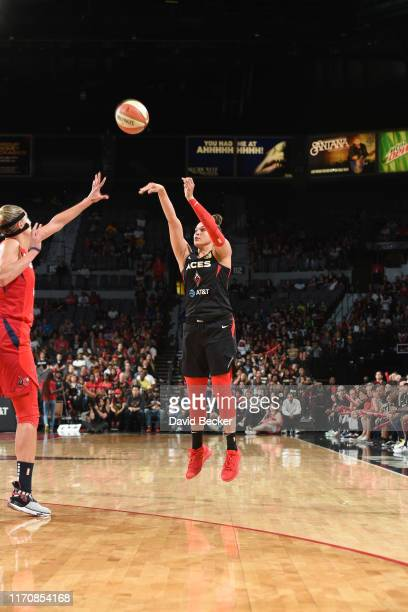 Kayla McBride of the Las Vegas Aces shoots the ball against the Washington Mystics during Game Four of the 2019 WNBA Semifinals on September 24 2019...