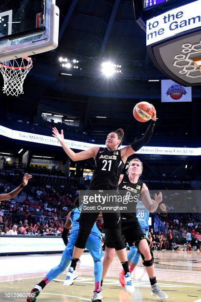 Kayla McBride of the Las Vegas Aces shoots the ball during the game against the Atlanta Dream on August 07 2018 at McCamish Pavilion in Atlanta...