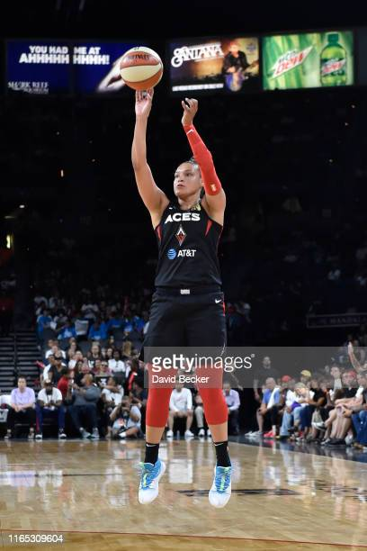 Kayla McBride of the Las Vegas Aces shoots three point basket against the Los Angeles Sparks on August 31 2019 at the Mandalay Bay Events Center in...