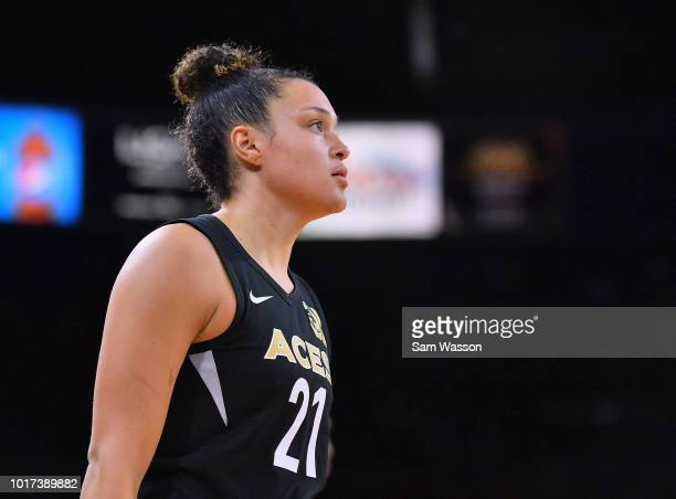 Kayla McBride of the Las Vegas Aces stands on the court during her team's game against the New York Liberty at the Mandalay Bay Events Center on...