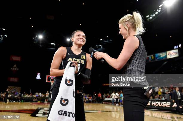 Kayla McBride of the Las Vegas Aces talks with media after the game against the Chicago Sky on July 5 2018 at the Mandalay Bay Events Center in Las...
