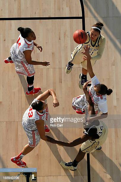 Kayla McBride of the Notre Dame Fighting Irish attempts a shot in the first half against the Ohio State Buckeyes during the Walmart Carrier Classic...