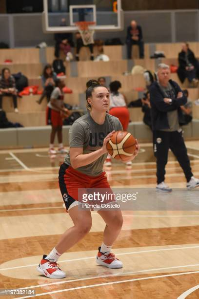 Kayla McBride of the USA Women's National Team shoots the ball at practice on January 29 2020 at Nike New York Headquarters in New York New York NOTE...