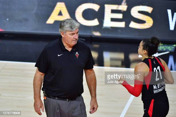 Kayla McBride runs by Head Coach Bill Laimbeer of the Las Vegas Aces after defeating the Connecticut Sun 8375 in Game 2 of their Third Round playoffs...