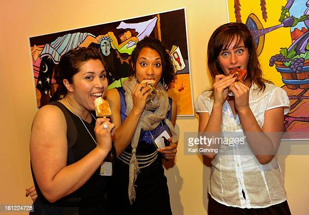 Kayla Mills, left, Paige Clarke, center, and Nichole Abbott, right, enjoyed post-show snack following the Museo de las Americas Fashion of the...