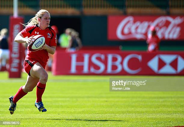 Kayla Moleschi of Canada in action against France during the IRB Women's Sevens Rugby World Series at the Emirates Dubai Rugby Sevens on December 4,...