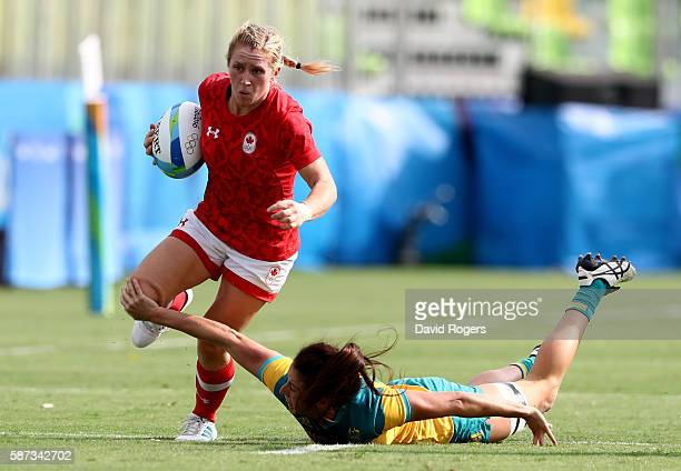 Kayla Moleschi of Canada runs with the ball during the Women's Semi Final 1 Rugby Sevens match between Australia and Canada on Day 3 of the Rio 2016...