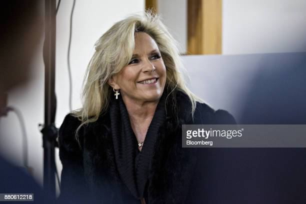 Kayla Moore wife of Roy Moore Republican candidate for US Senate from Alabama not pictured smiles as her husband speaks during a campaign rally in...