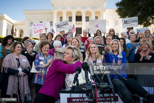 Kayla Moore wife of Roy Moore speaks during a 'Women For Moore' rally in support of Republican candidate for US Senate Judge Roy Moore in front of...