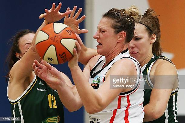 Kayla Pederson and Alison Downey of the Ranges contest for the ball against Suzy Batkovic of the Fire during the WNBL Preliminary Final match between...
