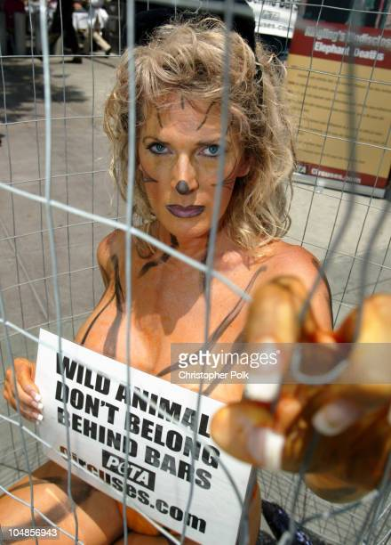 Kayla Rae Worden of Ashville NC a protester from People for the Ethical Treatment of Animals protests the Ringling Bros and Barnum Bailey Circus by...