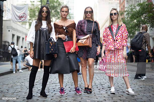 Kayla Seah Nina Suess Camila Carril Martina Ritter are seen attending Rebecca Minkoff during New York Fashion Week on September 9 2016 in New York...