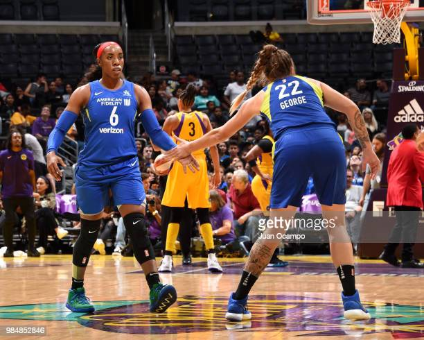 Kayla Thornton highfives Cayla George of the Dallas Wings on June 26 2018 at STAPLES Center in Los Angeles California NOTE TO USER User expressly...