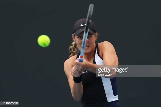Kaylah McPhee of Australia plays a backhand in her match against Greet Minnen of Belgium during 2020 Australian Open Qualifying at Melbourne Park on...