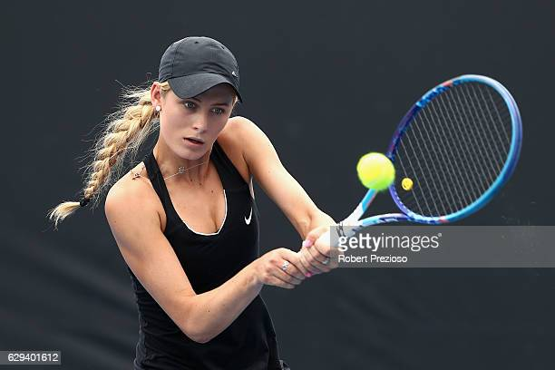Kaylah McPhee of Australia plays a backhand in her singles match during the Australian Open December Showdown at Melbourne Park on December 13 2016...